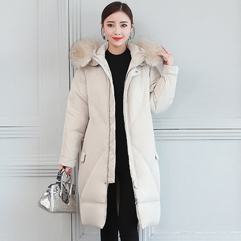 High Quality 2018 Winter White Duck Down Coat New Women Elegant Hooded Long Down Coat Female Winter Warm Thick Down Jacket