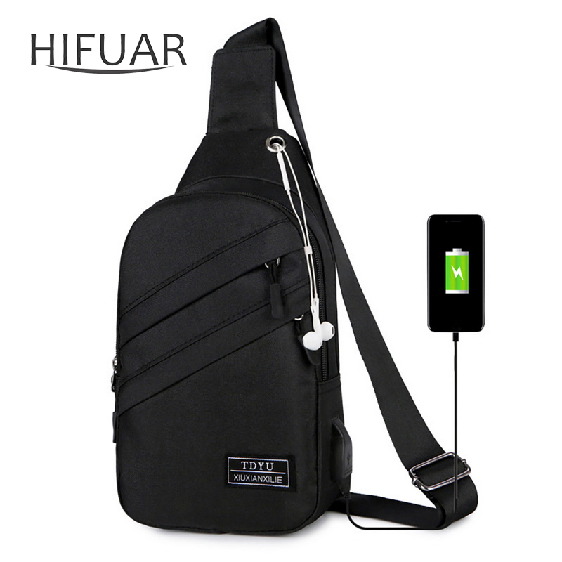 Men Bags Crossbody-Bag Waterproof Male Fashion With Interface Sports-Packs Anti-Theft