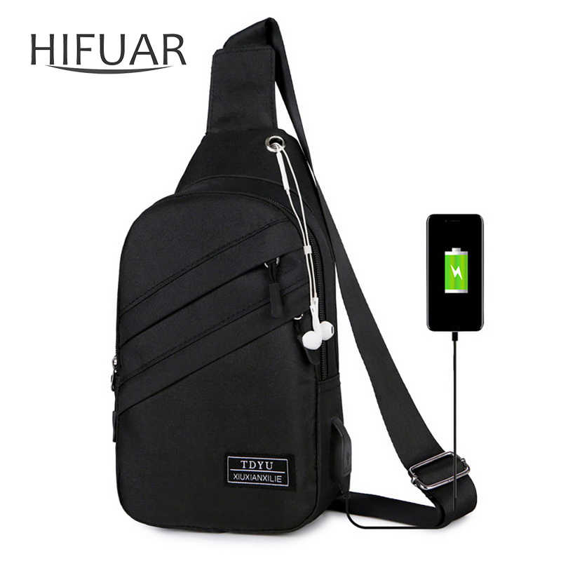 2019 New Men  Bags Outdoor Waterproof Male Crossbody Bag with  Interface Fashion Sports  Packs Anti-theft