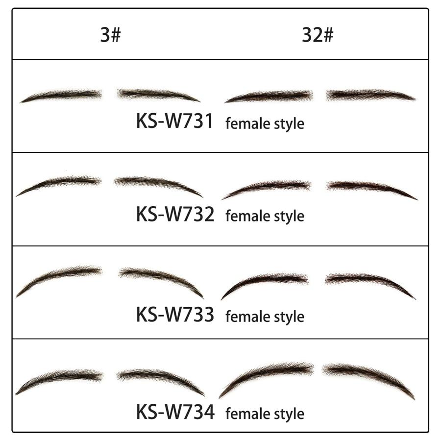Neitsi One Pair Women's Fake Eyebrows 100% Handtied Human Hair False Eyebrows Lace Base