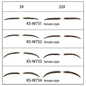 Neitsi One Pair Women's Fake Eyebrows 100% Handtied Human Hair False Eyebrows Lace Base