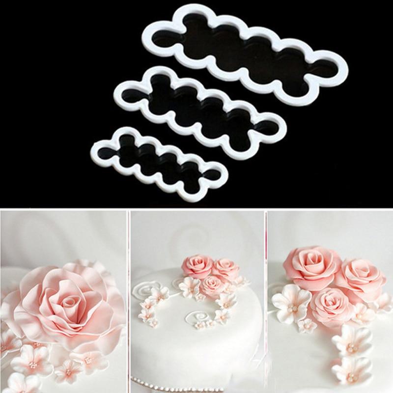 3шт / набір троянда силіконові форми помади Cookie різак торт шоколад Sugarcraft цвіль DIY торт прикраси для виготовлення квітів  t