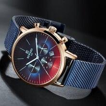 2020 חדש אופנה צבע בהיר זכוכית שעון גברים למעלה יוקרה מותג הכרונוגרף גברים של נירוסטה עסקי שעון יד גברים שעון
