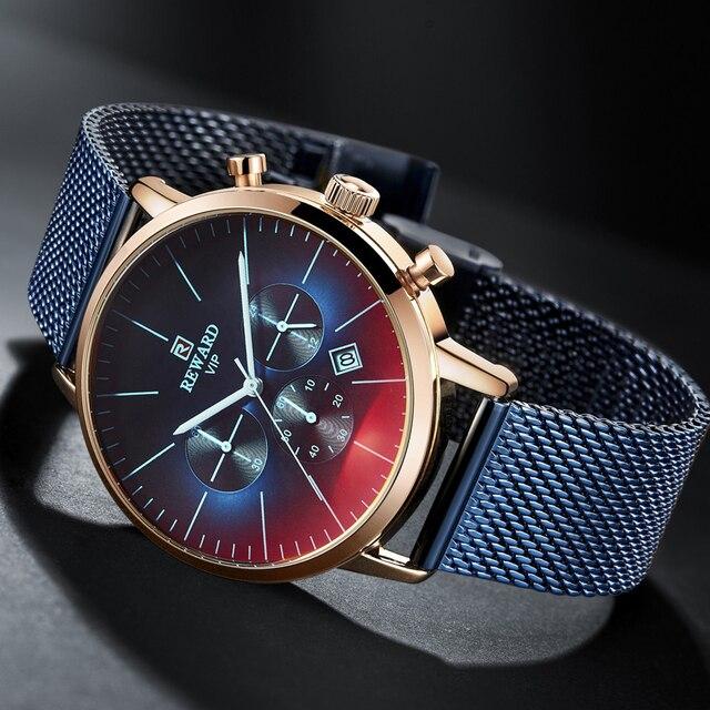 2020新ファッションカラーガラス高級ブランドクロノグラフ男性のステンレス鋼ビジネス時計男性腕時計時計
