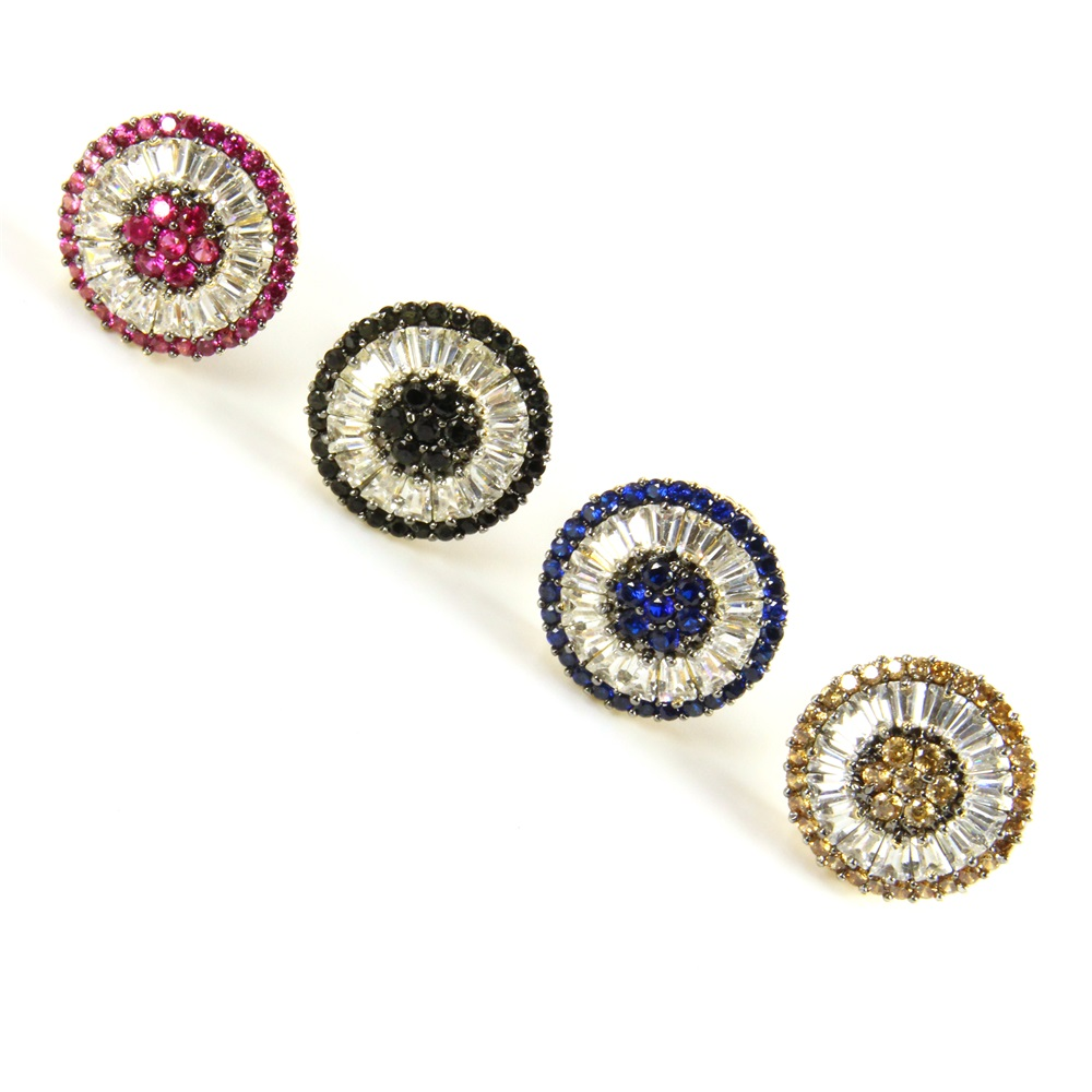 Multicolor Cubic Zirconia Pizza Stud Earrings   Luxriya