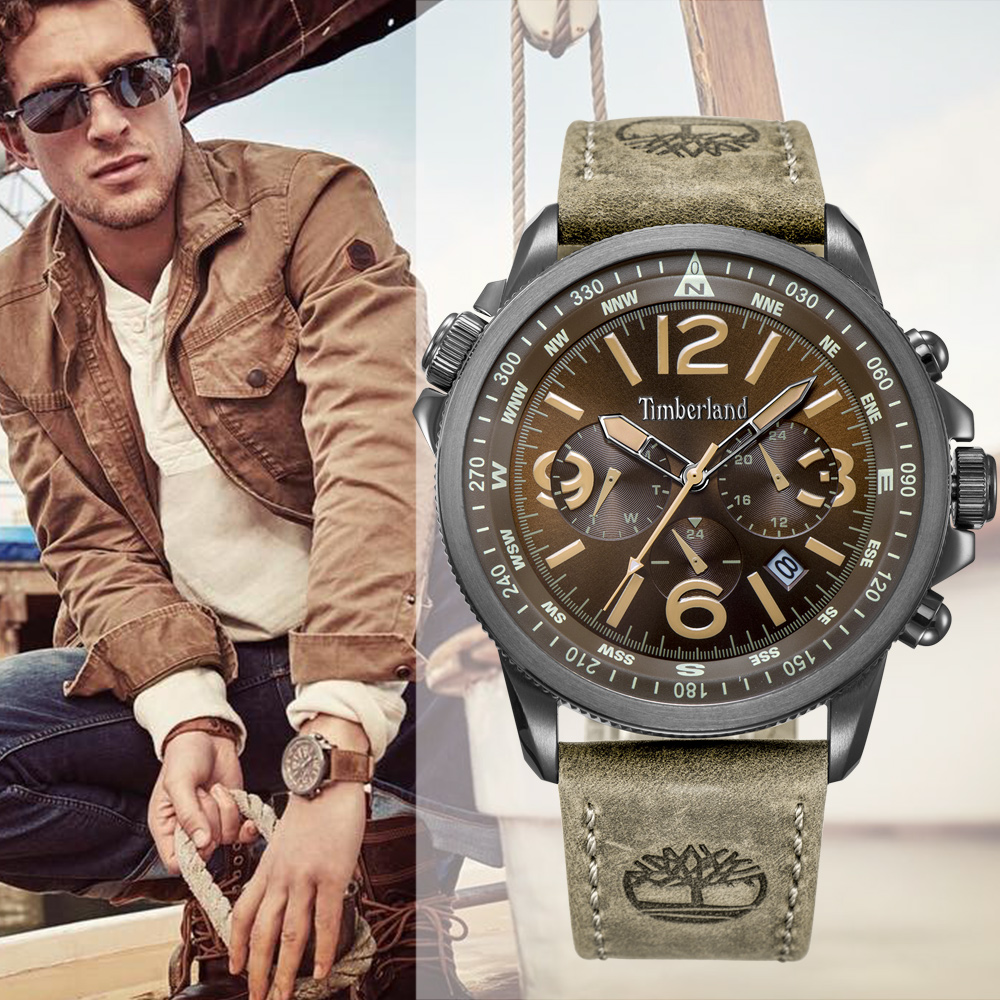 Timberland Mens Watches Leather Casual Quartz Multi-function Calendar Waterproof T13910 Watches 1