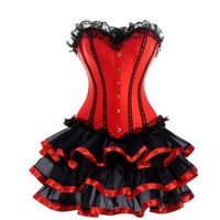 Red Burlesque Corset Dress Women Red Overbust Corset Plus Size Corsets And Bustiers Lace Trim Ribbon