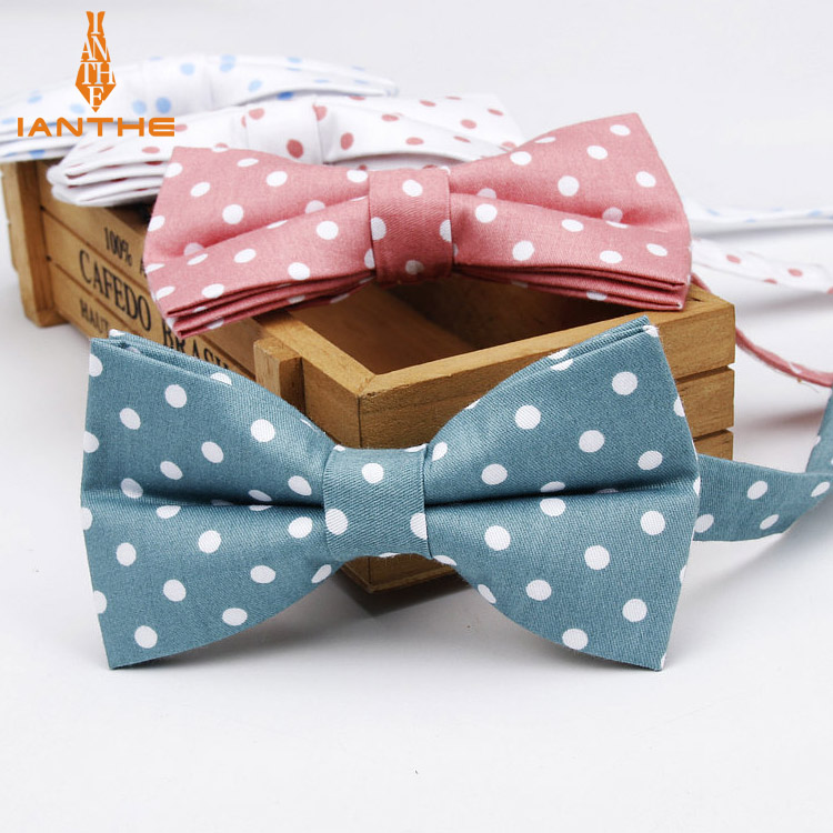 Ianthe Men Brand New Vintage Polka Dot Print Wedding Bow Ties For Man Vestido Gravatas Groom Necktie Butterfly Fashion Bowties