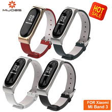 Mijobs Leather PU Wrist Mi Band 3 Strap for Xiaomi mi band Bracelet Wristband Smart Watch Replace correa