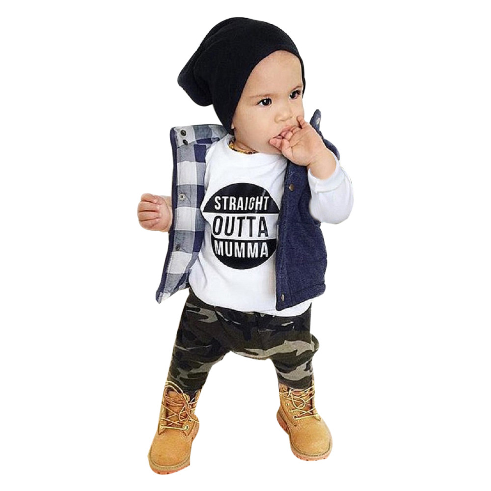 Fashion Newborn Infant Baby Boy Letter Long Sleeve T shirt Tops+Camouflage Pants Outfits Clothes Set baby clothing bebek giyim
