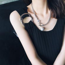 2019 Korea new large pearl bright diamond star OT buckle chain necklace Silver clavicle female