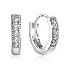Free Shipping 1pair 925 sterling silver womens Clear Shining CZ Zircon Pretty hoop earrings