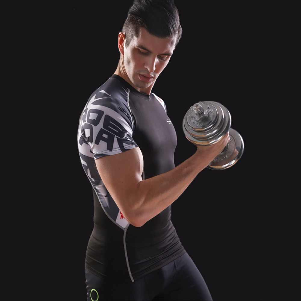 Homens camisa de compressão t pele apertada térmica sob manga curta jerseys rashguard impressão 3d exercício treino de fitness esportiva