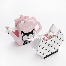 coloffice 1pc cute cartoon wooden tape dispenser maskingtape desktop decoration washing tape storage tape seat school office
