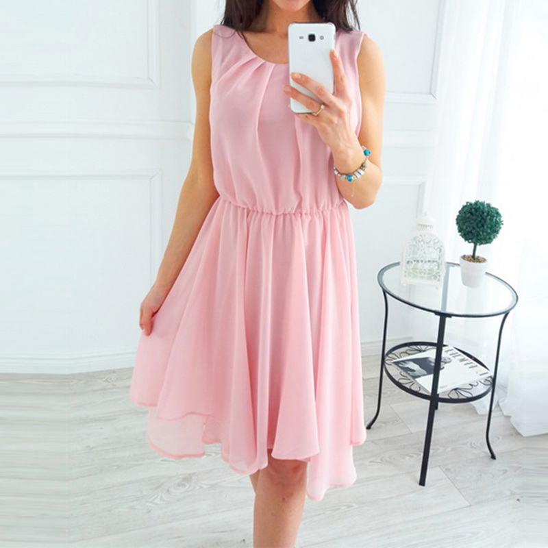 2019 Women Beach Dress Female Summer Sleeveless Dress Chiffon Women Dresses Summer Style Women Clothing Plus Size