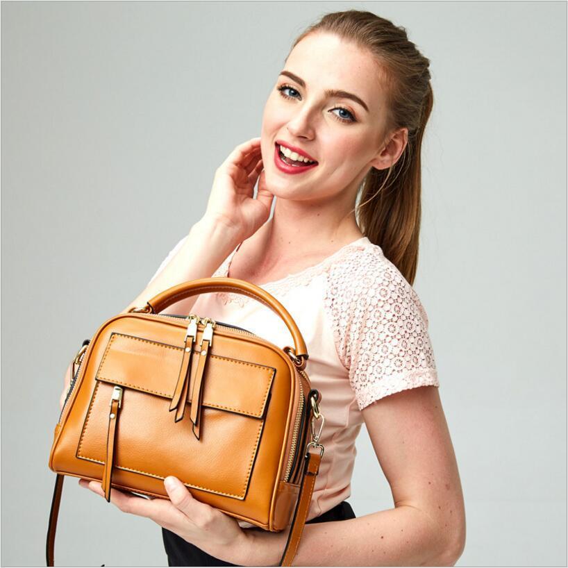 ФОТО Genuine leather 2017 New Designer Womens Messenger Bags Shoulder Satchel Bag Brown Green Black Handbags Free Shipping L5016