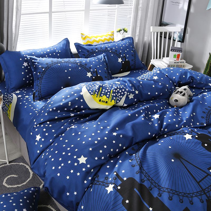 4pcs/set Dark Blue City Night Scene Printing Bedding Set Bed Linings Duvet Cover Bed Sheet Pillowcases Cover Set(China)