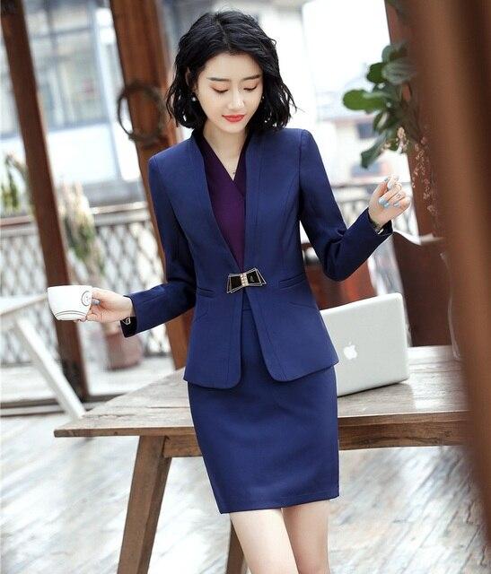 7273fbba2697 2019 Formal Elegant Women s Navy blue Blazer Women Business Suits Office  Suits Work Wear Uniform Skirt and Jacket Sets OL Styles