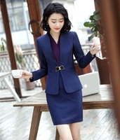 2019 Formal Elegant Women's Navy blue Blazer Women Business Suits Office Suits Work Wear Uniform Skirt and Jacket Sets OL Styles