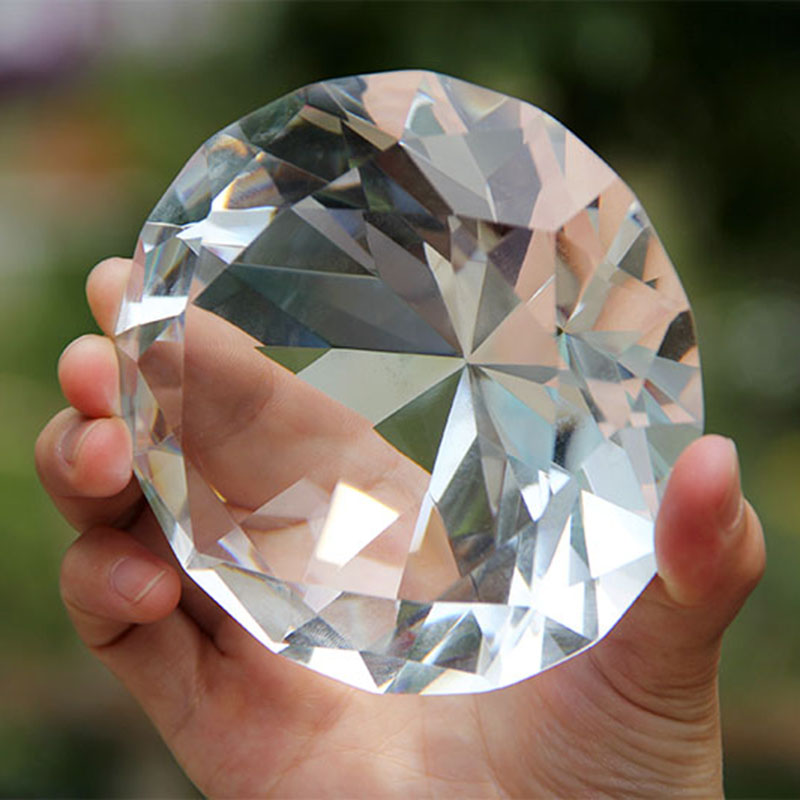 10cm Huge Clear Crystal Diamond Paperweight <font><b>Glass</b></font> Fengshui Craft Ornaments Home Decoration Birthday Wedding Gift Party Souvenir
