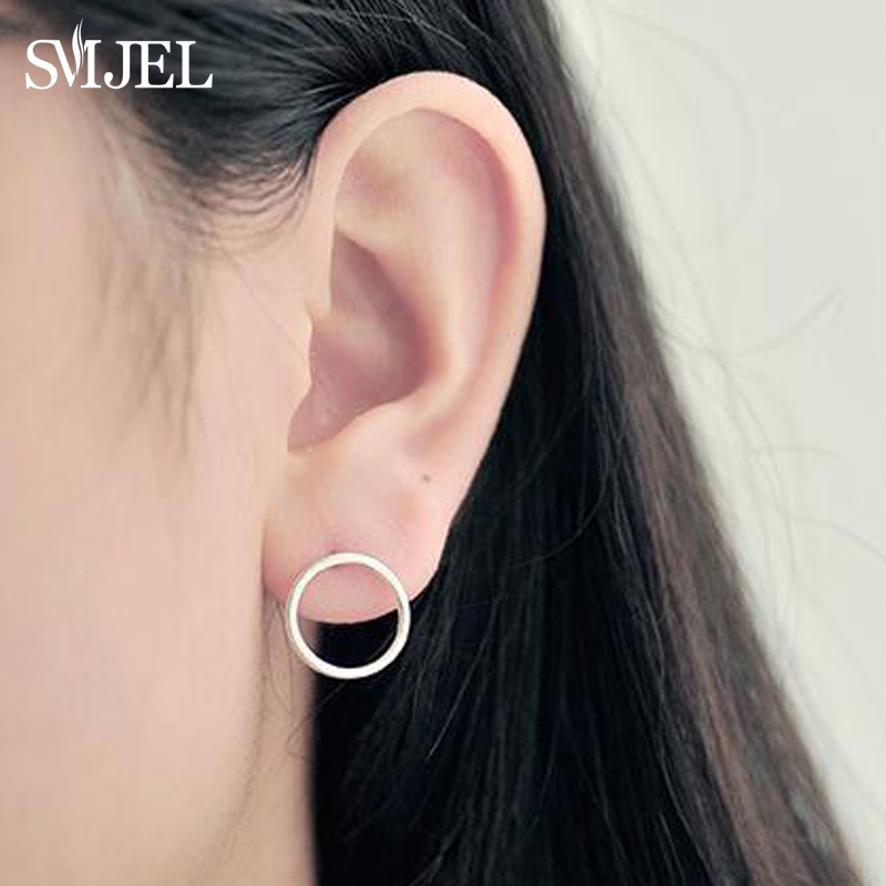 SMJEL New Lovely Geometric Circle Women Stud Earrings Girl Gift Mini Earings Fashion Jewelry Boucle D Oreille
