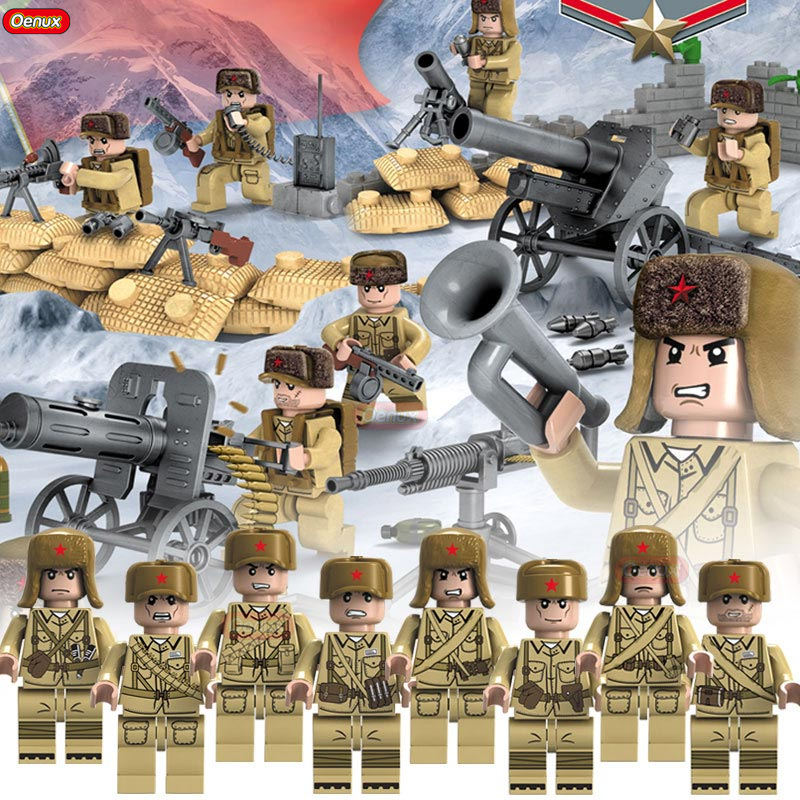 все цены на Oenux New Arrival WW2 Sino-Japanese War Military Scenes Chinese Eighth Route Army Soldiers With Weapons Block Brick Toy For Kids онлайн