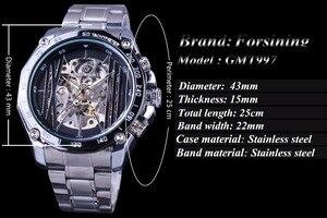 Image 3 - Forsining Militaire Sport Ontwerp Transparant Skeleton Dial Zilver Rvs Heren Horloges Top Brand Luxe Automatische Horloges