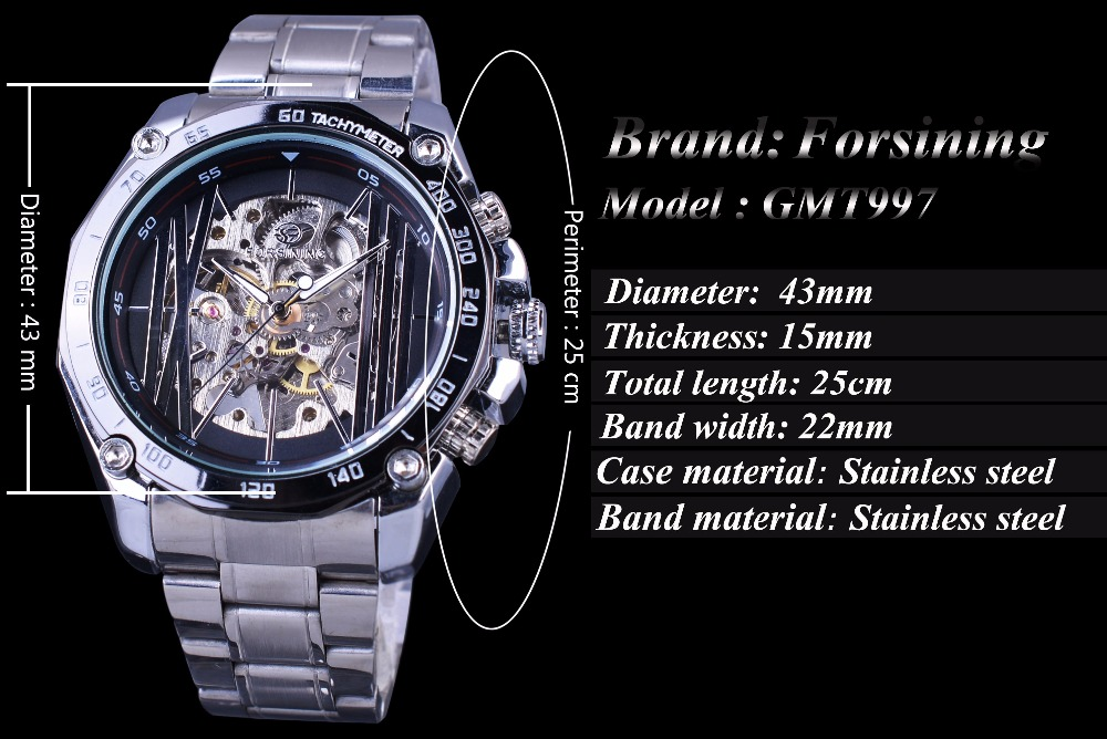 watch mechanical steel mens watches golden fashion transparent winner home men skeleton stainless
