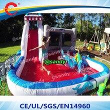 4e7adc3a0fa88b Gratis lucht schip tot deur, 6*4 m opblaasbare haai bounce huis/kids  bouncer zwembad glijbaan combo/glijbaan met zwembad