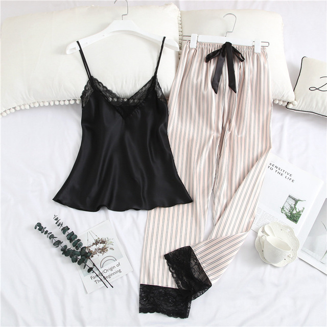 Pajamas For Women with Long Pants Satin Ice Silk V neck Striped Strap Lace Trim Sexy Sleepwear Nightie Womens Underwear Set