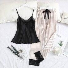 Pijama con pantalones largos para mujer, conjunto de ropa interior Sexy, camisón de dormir con tirantes a rayas y cuello de pico de seda satinada