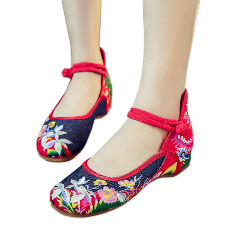 Fashion flowers embroidery women flats shoes Fresh vintage Sexy mary Janes oxford shoes women casual Chinese shoes
