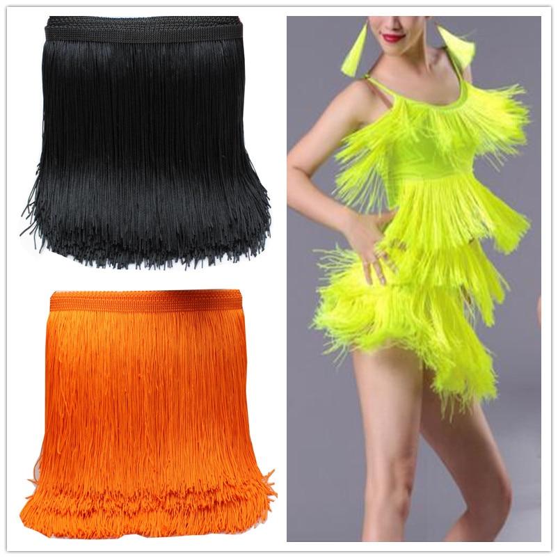 Latin Fringe Tassel Lace 10 Yds Chainette Fringes Polyester Tassel Trimming Lace Trims Macrame Samba Dance Dress Trim 14-19CM