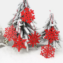 6Pcs Creative Wooden Snowflakes Christmas Pendants Ornaments for Christmas Tree Party Decorations Home outdoor Kids Gift(China)