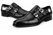 Fashion black / Blue double buckle formal business shoes mens dress shoes genuine leather office shoes mens wedding shoes