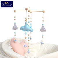 Baby Teether Baby Cradle Mobile Bed Bell Rattle Toy Cloud Cot Mobile Wooden Wind Chime Tent Hanging Baby Shower Gift Home Decor