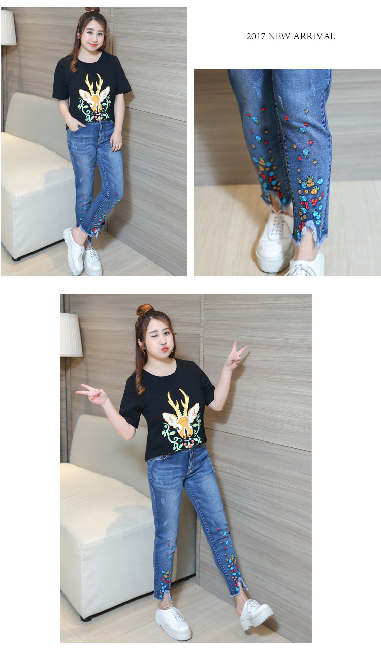 2XL 3XL 4XL Women Jeans Pants 17 Spring High Waist Casual Trousers Jeans Woman Plus Size Tassels Embroidery Ankle-Length Pants 3