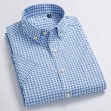 High Quality Men's Oxford Casual Shirts Leisure Design Plaid Men's Social Shirts 100% Cotton Short Sleeve Men's Dress Shirts