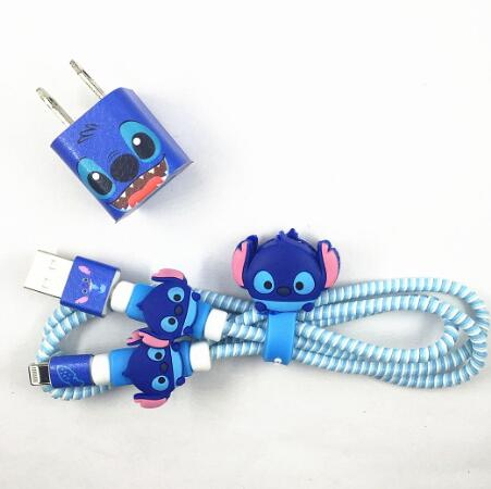 1.4M Cartoon USB Charger Cable Protector Diy Set With Cable Winder Charging Stickers Spiral Cord Protector For Iphone 5 6 6s 7