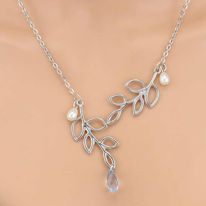 Simple Style Multi-Layer Leaves Infinity Moon Simulated Pearl Cross Chain Necklaces & Pendants for Women Valentine's Day Gifts