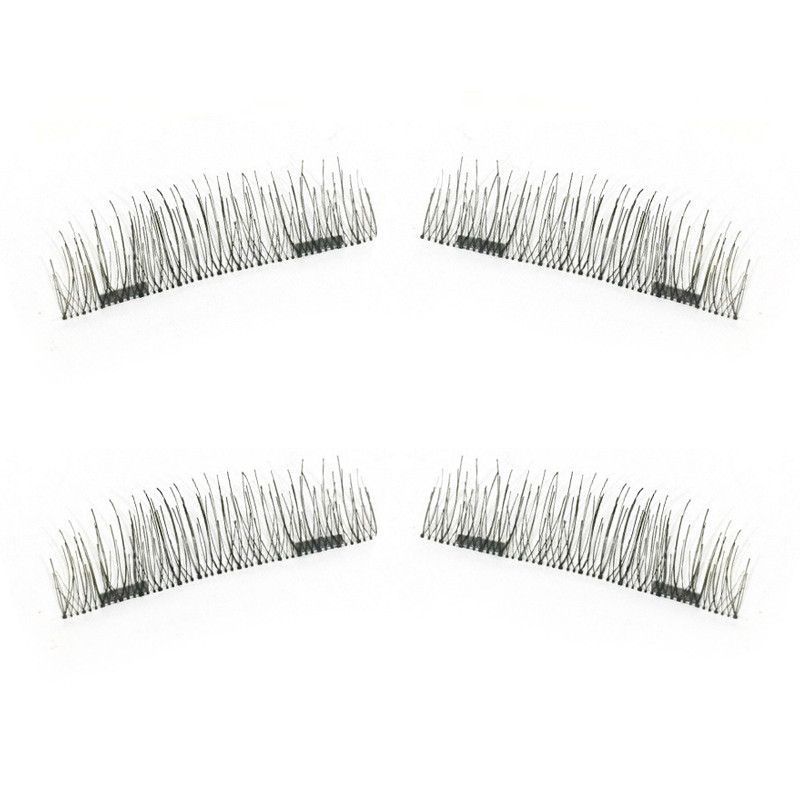 3D False Eyelashes Double Magnet False Eyelashes Glue Adhesive Free Anti-allergic Reusable Magnetic False Eyelashes Makeup Kit