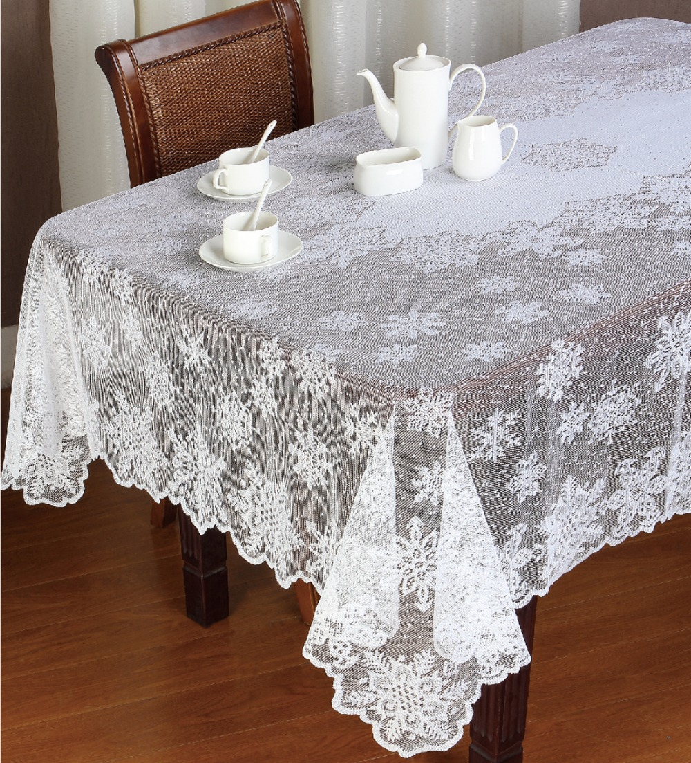 Christmas Ivory Or White Polyester Snowflake Lace Tablecloths For Table In  Wedding Party Or Holiday Round Ot Rectangular Free In Tablecloths From Home  ...