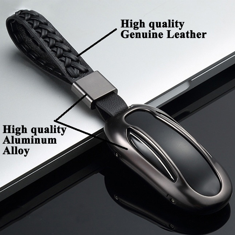 1pc Styling Car Key Case Cover Genuine Leather Belt Key Shell Storage Bag Protector Car Accessories for Tesla Model S Model X in Key Case for Car from Automobiles Motorcycles