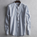 China style cotton linen mens shirt male long sleeve fashion busines casual shirt solid color stand collar shirt C194