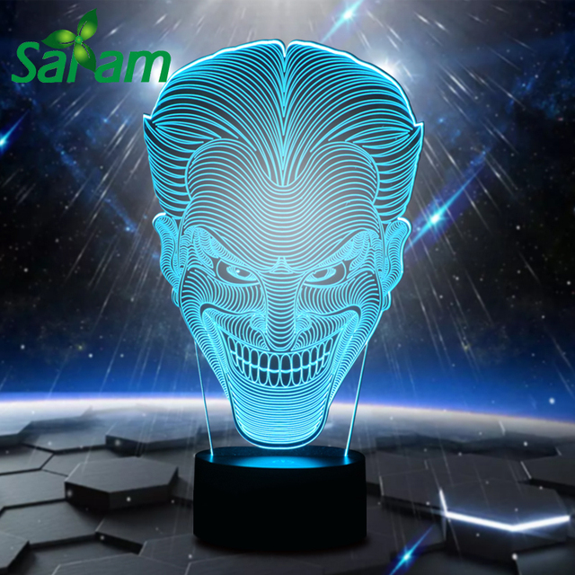 hollywood clown 3d led night light children room lamps for bed