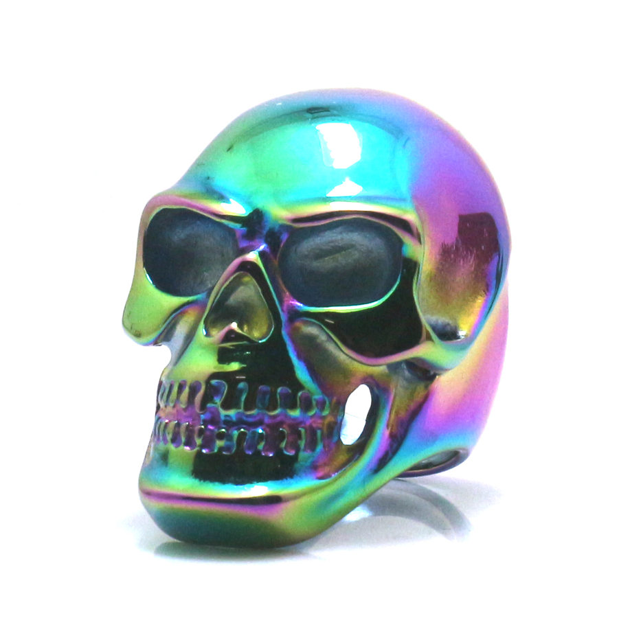 Size 6 To Size 16 Unisex 316L Stainless Steel Multicolor Rainbow Big Polishing Skull Ring gj303 rhinestones 316l stainless steel couple s ring black silver size 9 7 2 pcs