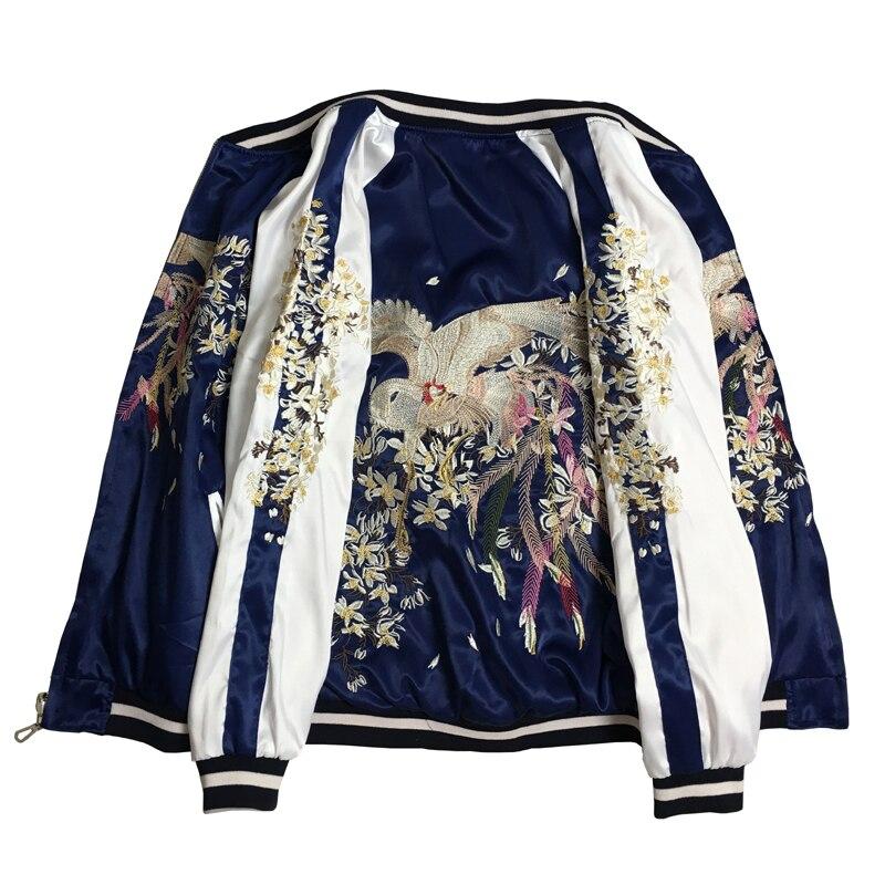 Printemps automne nouveaux deux côtés portent une veste de broderie pour femmes et hommes Yokohama Phoenix Double face portant des vestes volantes en Satin