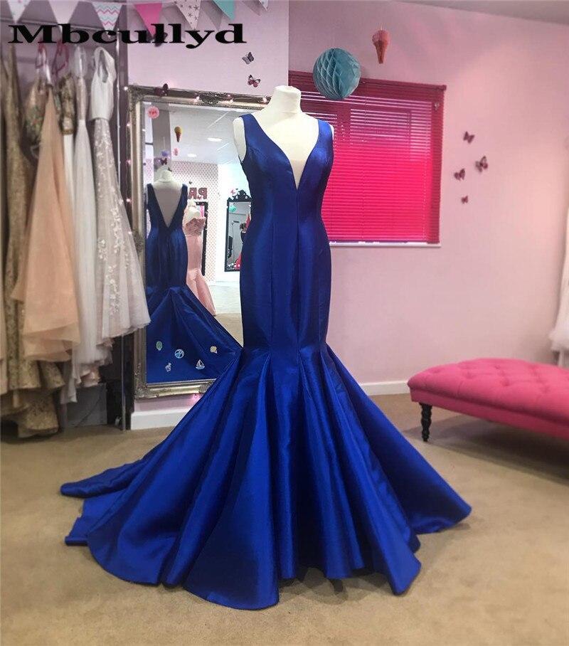 Mbcully Royal Blue Mermaid   Prom     Dress   2019 Sexy V-neck Long Formal African Women Evening Gala Gowns Vestidos de fiesta