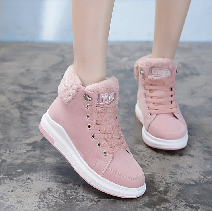 2018 Women Shoes Warm Fur Winter Sneakers Pink Women Casual Shoes High Top Ladies Sneakers Winter Platform Shoes Tenis Feminino 2018 women shoes warm fur winter sneakers pink women casual shoes high top ladies sneakers winter platform shoes tenis feminino