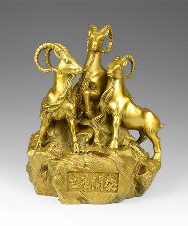 Fengshui-Statue de chèvre chinoise en laiton   Fait à la main, Statue de mouton, richesse dorée trois rames apporte un bonheur, décoration de maison, bienvenue